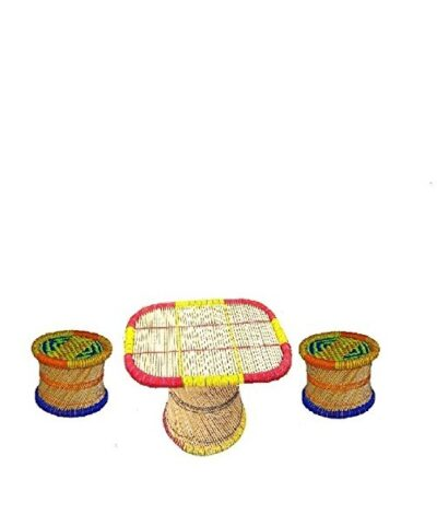 Cane centre table and stool set 1