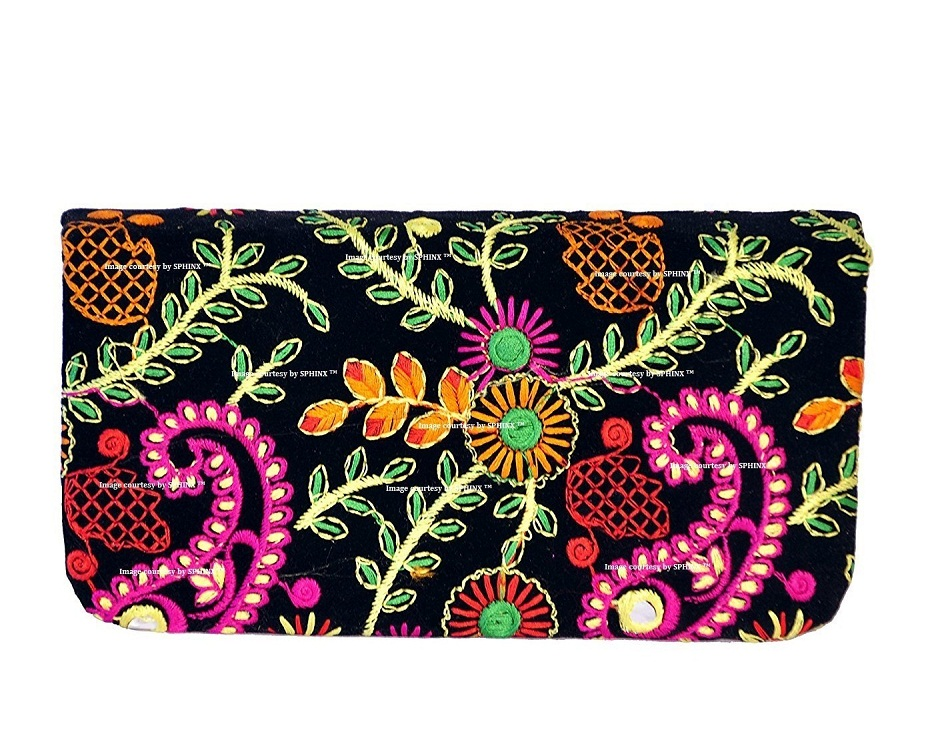 4f56a3a60a3 ... SPHINX MULTICOLORED HANDCRAFTED EMBROIDERY DESIGN WALLET/HAND CLUTCH  FOR WOMEN/GIRLS. -41%