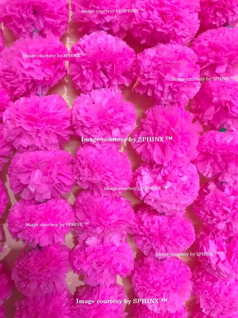 Sphinx Artificial Marigold Fluffy Flowers Garlands For Decoration