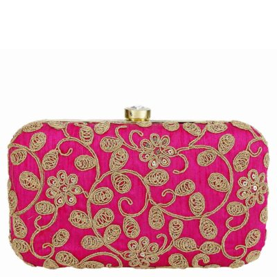sphinx contemporary ethnic zari silk handcrafted clutch pink