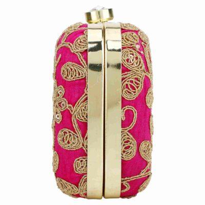 sphinx contemporary ethnic zari silk handcrafted pink clutch