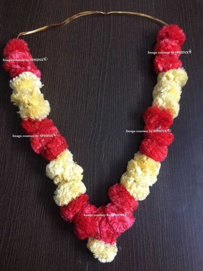 Sphinx Cream and red artificial marigold fluffy flower pooja garland 2