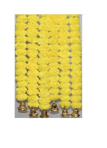 Sphinx Yellow color fluffy marigold garlands with bells 1