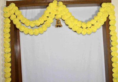 Sphinx artificial marigold fluffy flowers garlands bandarwal door toran – Yellow2