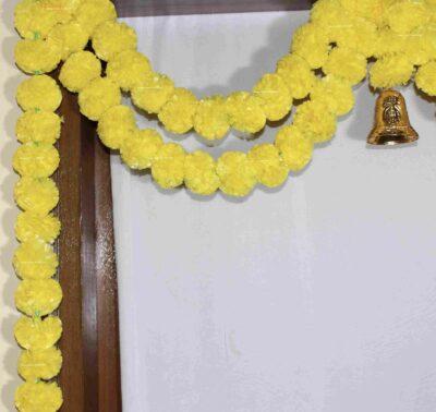 Sphinx artificial marigold fluffy flowers garlands bandarwal door toran – Yellow3