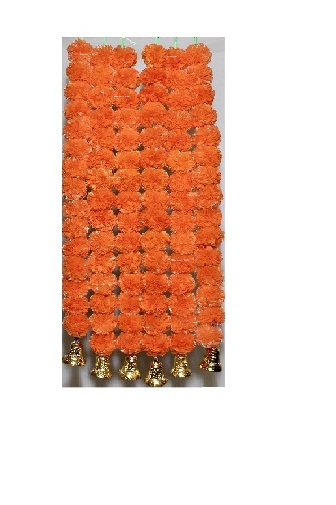 Sphinx dark orange color fluffy marigold garlands with bells 1