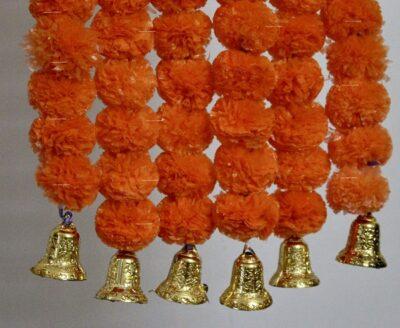 Sphinx dark orange color fluffy marigold garlands with bells 2