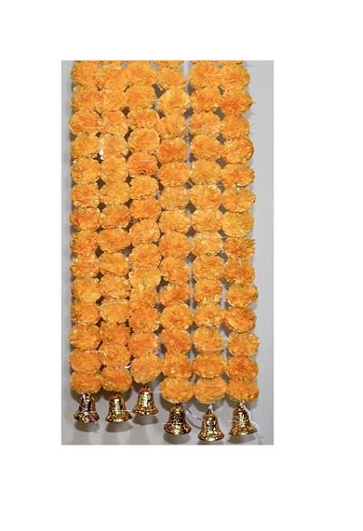 Sphinx light orange color fluffy marigold garlands with bells 1