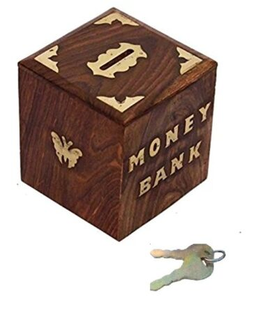 Sphinx cube shaped wooden money bank