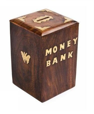 Sphinx cuboid shaped wooden money bank