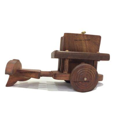 Sphinx small sheesham wood bull cart shape coasters set 1
