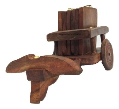 Sphinx small sheesham wood bull cart shape coasters set 2
