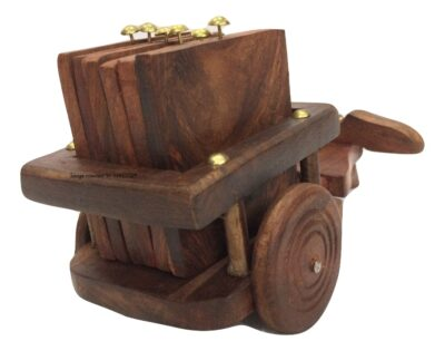 Sphinx small sheesham wood bull cart shape coasters set 3
