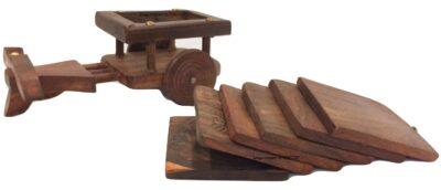 Sphinx small sheesham wood bull cart shape coasters set 4