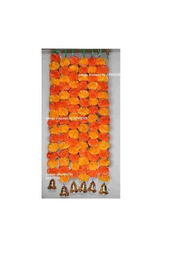 Sphinx light and dark orange color fluffy marigold garlands with bells 1
