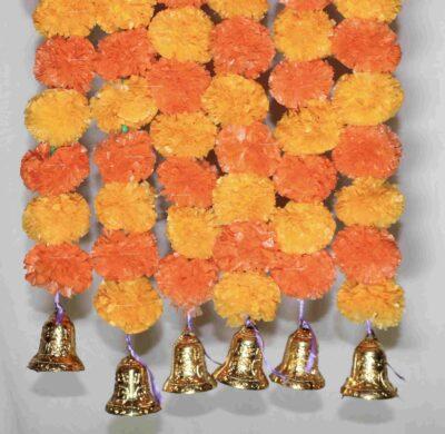 Sphinx light and dark orange color fluffy marigold garlands with bells 2