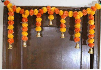 SPHINX Artificial fluffy marigold door toran light & dark orange 1
