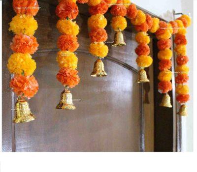 SPHINX Artificial fluffy marigold door toran light & dark orange 2