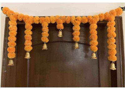 SPHINX Artificial fluffy marigold door toran light orange 1