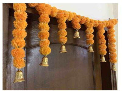 SPHINX Artificial fluffy marigold door toran light orange 2