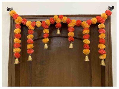 SPHINX Artificial fluffy marigold door toran light orange & red 1