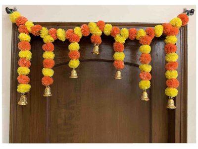 SPHINX Artificial fluffy marigold door toran yellow & dark orange 1