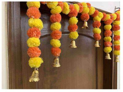 SPHINX Artificial fluffy marigold door toran yellow & dark orange 2