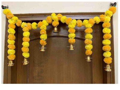 SPHINX Artificial fluffy marigold door toran yellow & light orange 1