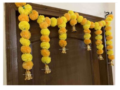 SPHINX Artificial fluffy marigold door toran yellow & light orange 2