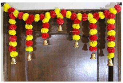 SPHINX Artificial fluffy marigold door toran yellow & red 1