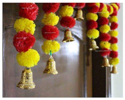 SPHINX Artificial fluffy marigold door toran yellow & red 2