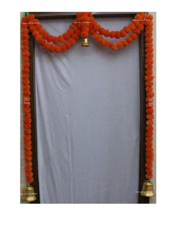 Sphinx Artificial Marigold Fluffy Flowers Small Door Toran 100 x 152 cms Dark Orange 1