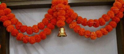 Sphinx Artificial Marigold Fluffy Flowers Small Door Toran 100 x 152 cms Dark Orange 2