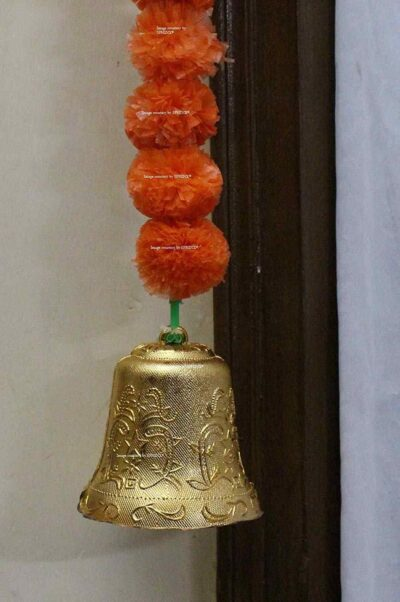 Sphinx Artificial Marigold Fluffy Flowers Small Door Toran 100 x 152 cms Dark Orange 3