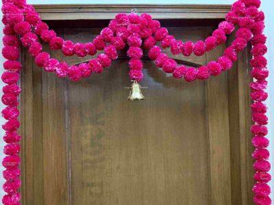 Sphinx Artificial Marigold Fluffy Flowers Small Door Toran 100 x 152 cms Dark Pink 2