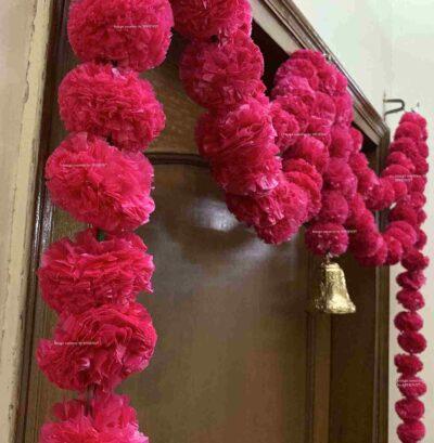 Sphinx Artificial Marigold Fluffy Flowers Small Door Toran 100 x 152 cms Dark Pink 3