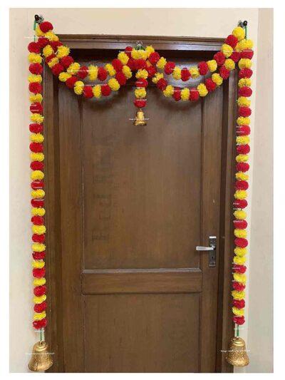 Sphinx Artificial Marigold Fluffy Flowers Small Door Toran 100 x 152 cms Yellow & Red 1