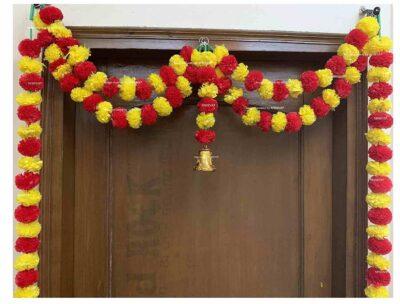Sphinx Artificial Marigold Fluffy Flowers Small Door Toran 100 x 152 cms Yellow & Red 2