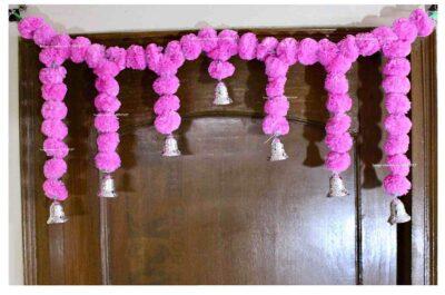 Sphinx Artificial Marigold Fluffy Flowers Small Door Toran 100 x 41 cms Baby Pink 1
