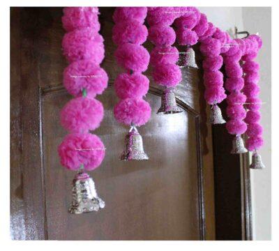 Sphinx Artificial Marigold Fluffy Flowers Small Door Toran 100 x 41 cms Baby Pink 2