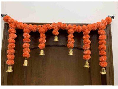 Sphinx Artificial Marigold Fluffy Flowers Small Door Toran 100 x 41 cms Dark Orange 1