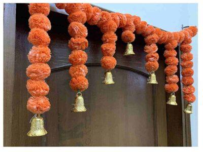Sphinx Artificial Marigold Fluffy Flowers Small Door Toran 100 x 41 cms Dark Orange 2