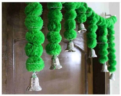Sphinx Artificial Marigold Fluffy Flowers Small Door Toran 100 x 41 cms Green 2