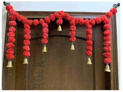 Sphinx Artificial Marigold Fluffy Flowers Small Door Toran 100 x 41 cms Red 1