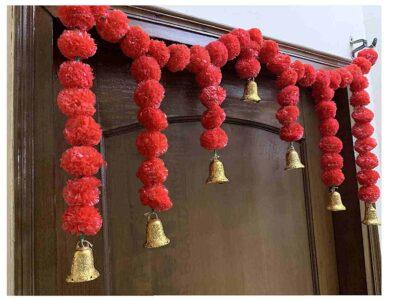 Sphinx Artificial Marigold Fluffy Flowers Small Door Toran 100 x 41 cms Red 2