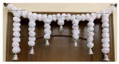 Sphinx Artificial Marigold Fluffy Flowers Small Door Toran 100 x 41 cms White 1