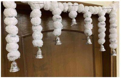 Sphinx Artificial Marigold Fluffy Flowers Small Door Toran 100 x 41 cms White 2