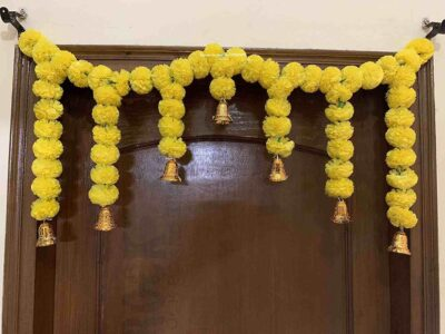 Sphinx Artificial Marigold Fluffy Flowers Small Door Toran 100 x 41 cms Yellow 1