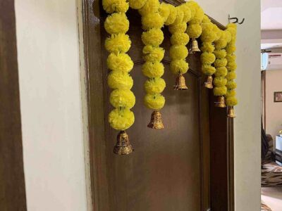 Sphinx Artificial Marigold Fluffy Flowers Small Door Toran 100 x 41 cms Yellow 2