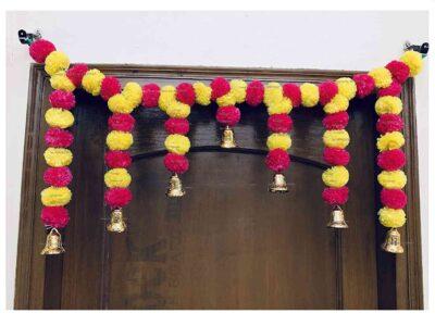 Sphinx Artificial Marigold Fluffy Flowers Small Door Toran 100 x 41 cms Yellow & Dark Pink 1